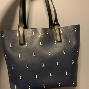 Kate Spade Blue Arch Penguins Reversibl Tote Large